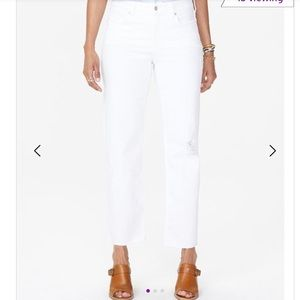 NYDJ white Jenna straight ankle jean with raw hem